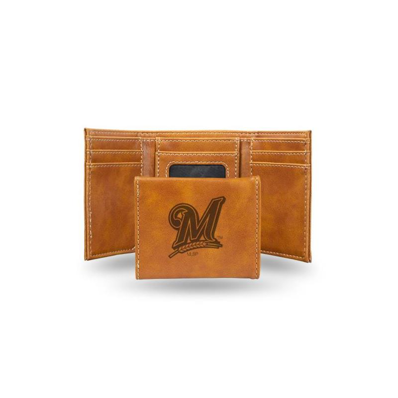 Rico Brewers Laser-Engraved Brown Trifold Wallet