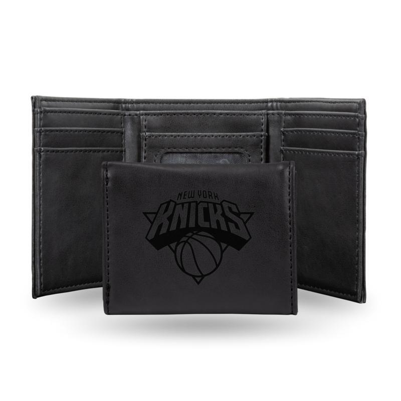 Rico Laser-Engraved Black Tri-fold Wallet - Knicks