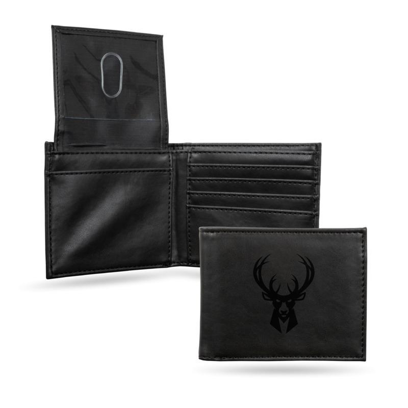 Rico NBA Laser-Engraved Black Billfold Wallet - Bucks