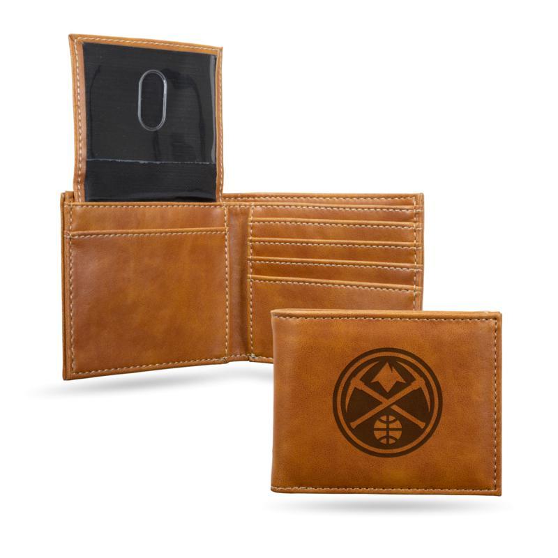 Rico NBA Laser-Engraved Brown Billfold Wallet - Nuggets