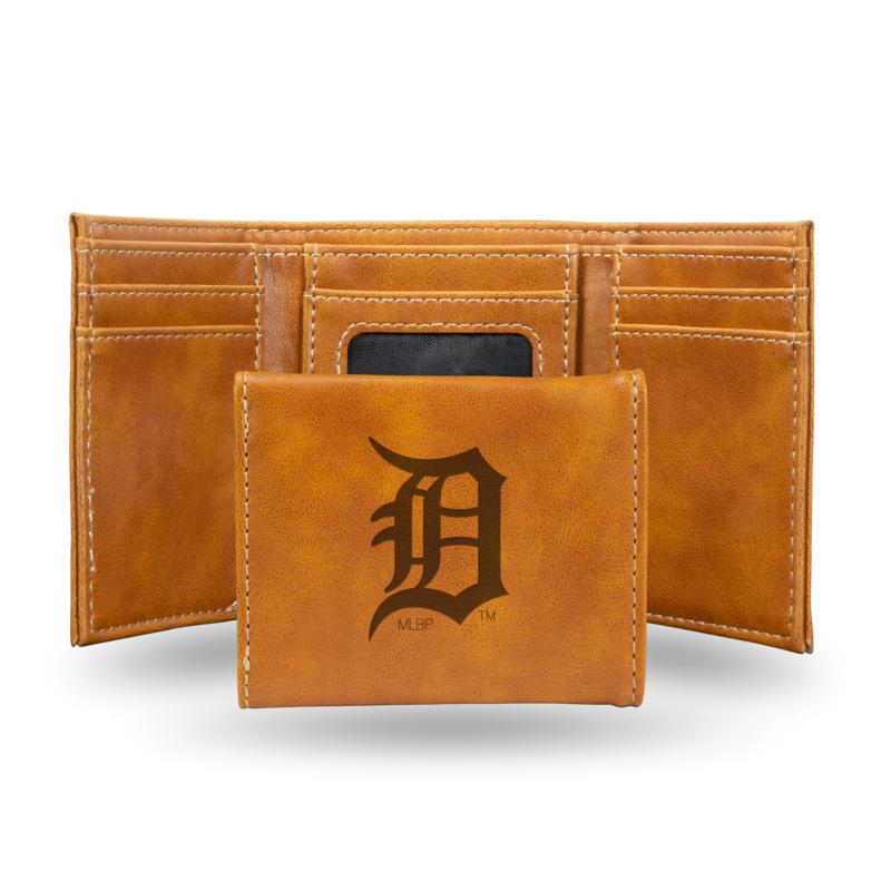 Rico Tigers Laser-Engraved Brown Trifold Wallet