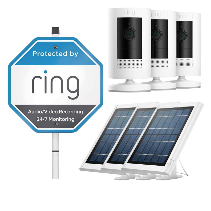 3-Pack Ring Stick Up Cam with 3 Solar Panels, Yard Sign & Ring Assist+