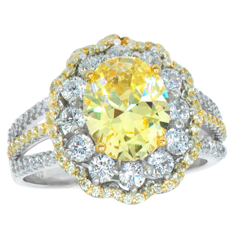 """Robert Manse """"CZ RoManse"""" Clear and Canary Oval Ring"""
