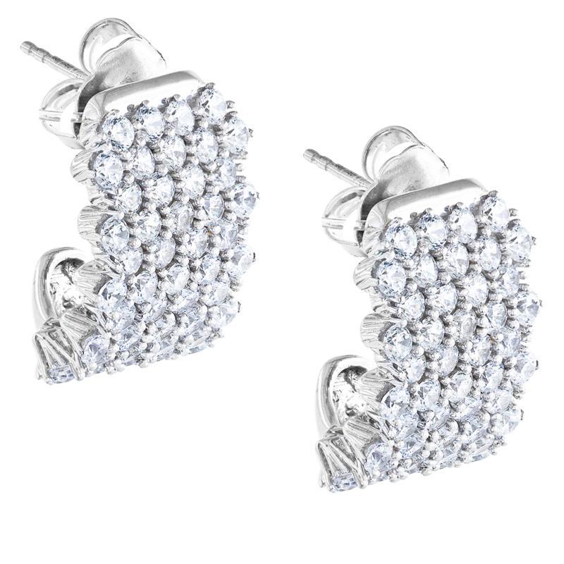 "Robert Manse ""CZ RoManse"" White Cubic Zirconia Wide J-Hoop Earrings"