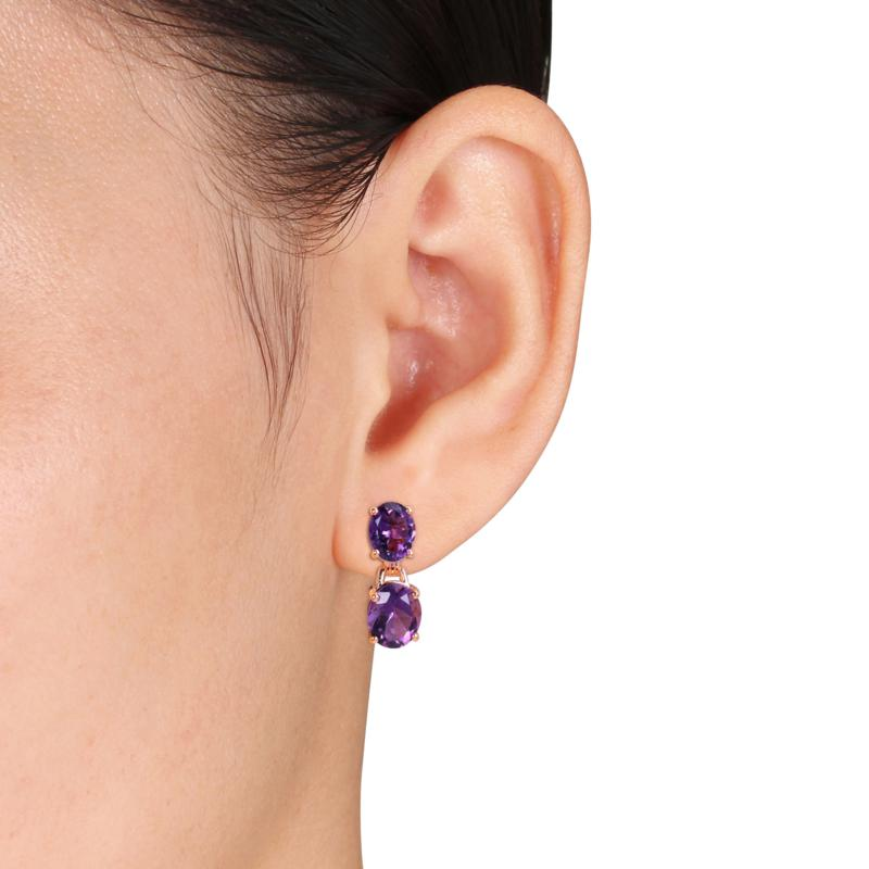 Rose Plated Earrings Gift BEV-1136 Details about  /925 Sterling Silver Amethyst Silver// Gold