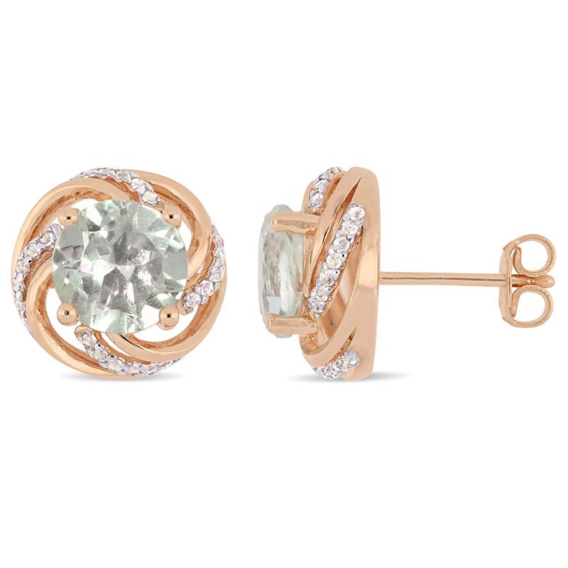 Rosetone Sterling Silver Prasiolite and White Topaz Stud Earrings