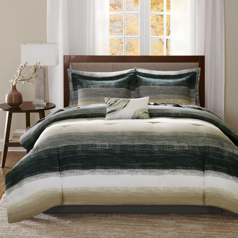 Saben Cal King 9pc Complete Bed and Sheet Set - Taupe