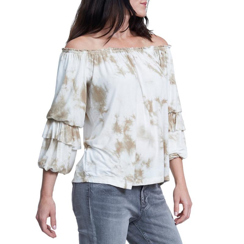 Seven7 Tie Dye Tier-Sleeve Off-Shoulder Top