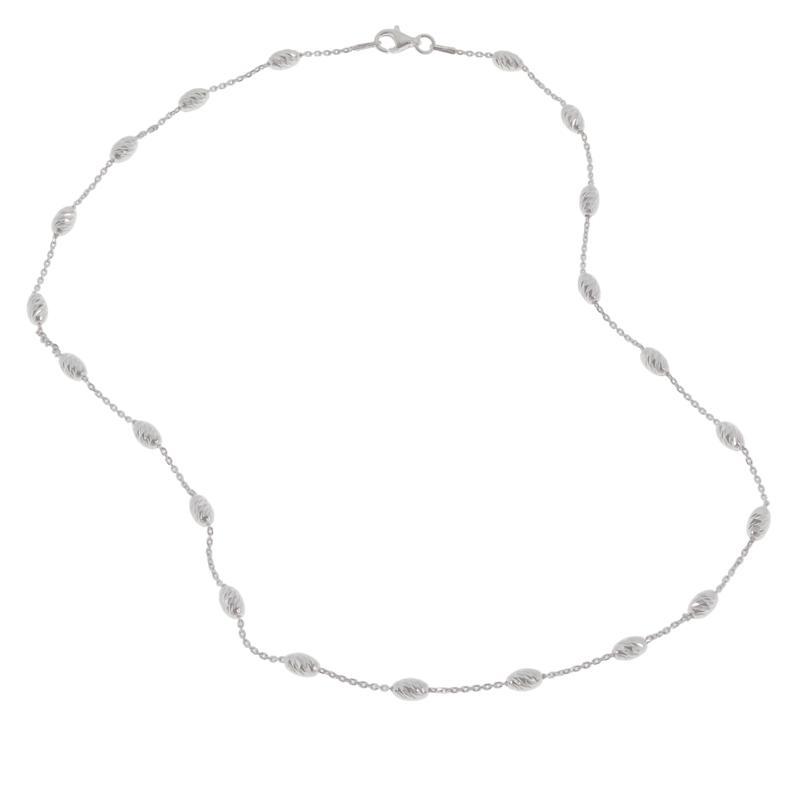 "Sevilla Silver™ 18"" Diamond-Cut Bead Station Necklace"