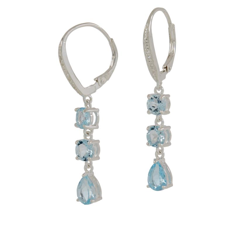 Sevilla Silver™ Blue Topaz and White Topaz Linear Drop Earrings