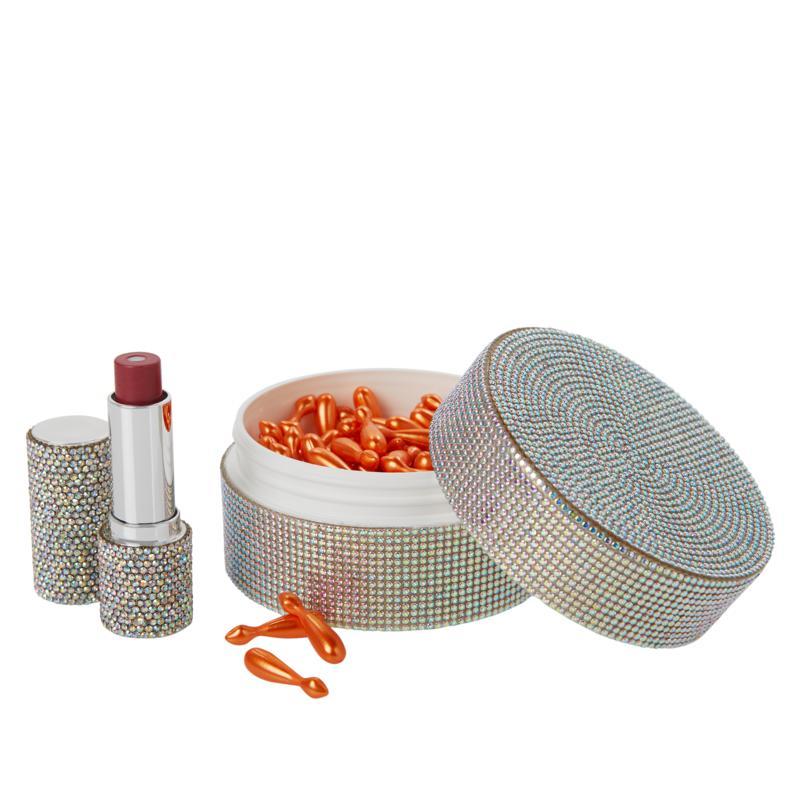 Signature Club A Exquisite Bejeweled Jar with Capsules & Lipstick