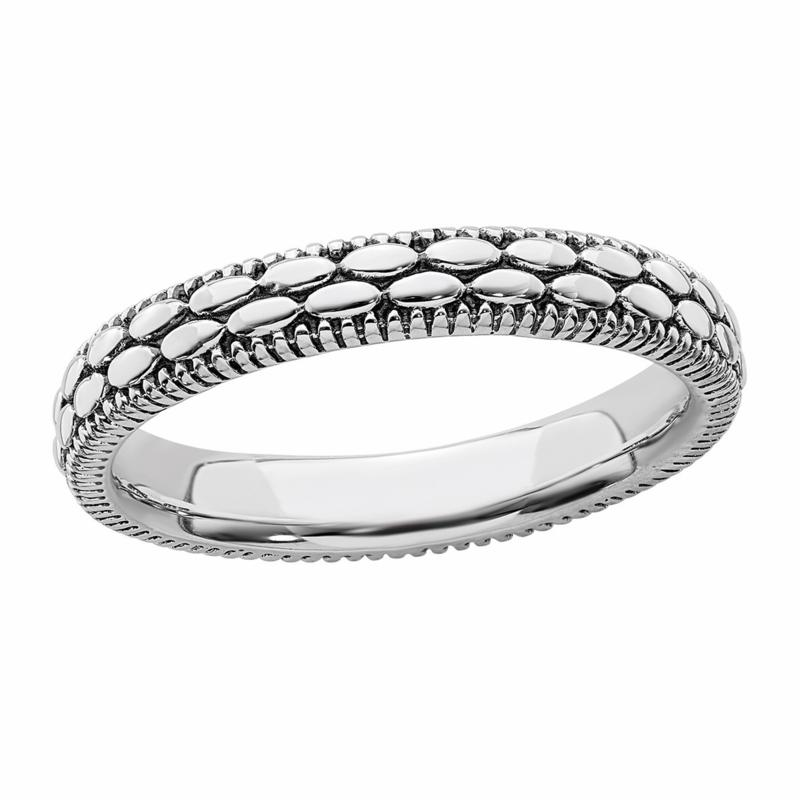 Simply Stacks™ Sterling Silver Antiqued Patterned Ring