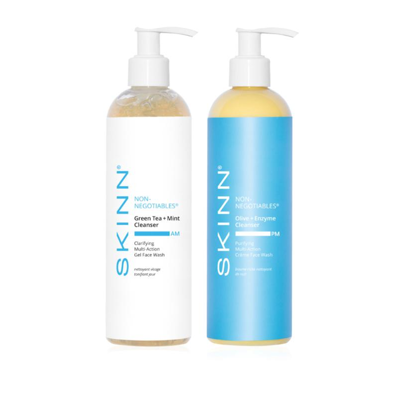 Skinn® Cosmetics Non-Negotiables Supersize AM + PM Cleansing Set