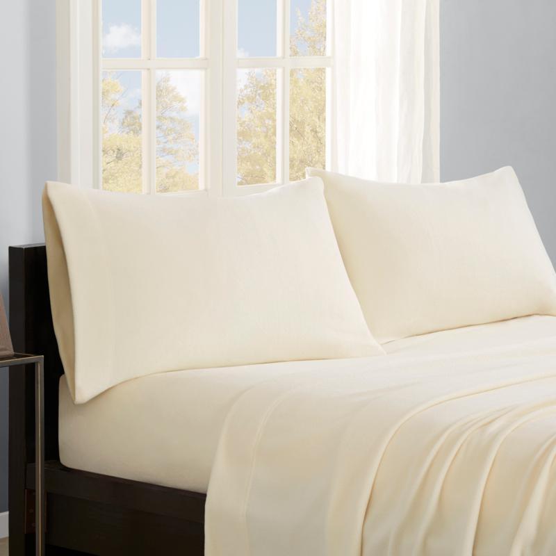 Sleep Philosophy Micro Fleece Sheet Set - Ivory - Twin XL