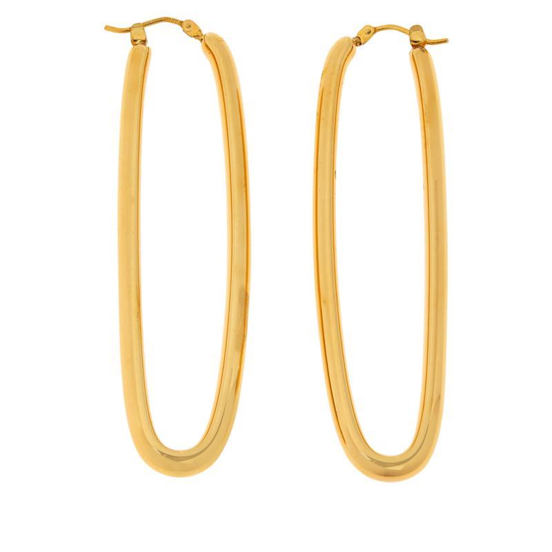 Soave Oro 14K Electroform Elongated Hoop Earrings