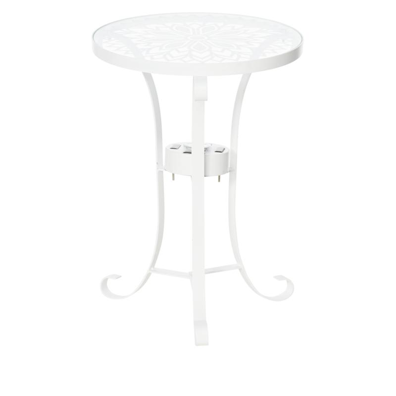 Solar-Powered Glass Top Decorative Stand