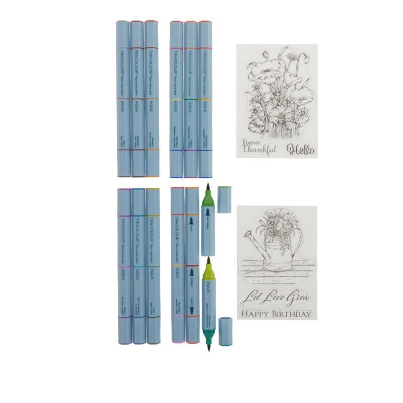 Spectrum Noir Aqua Tri-Color Markers and Clear Stamp Set