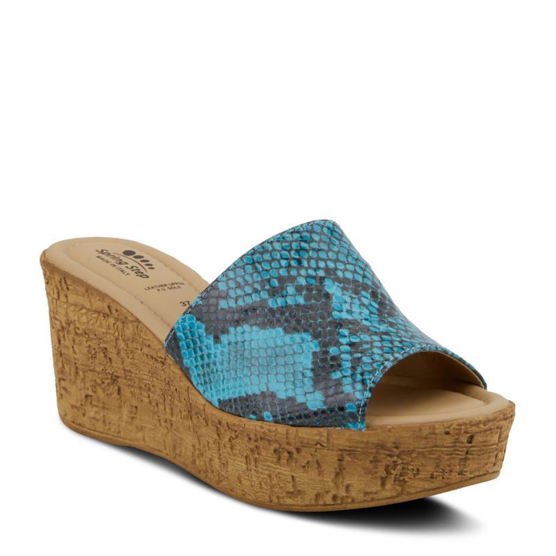 Spring Step Mercury Python-Print Wedge Sandal