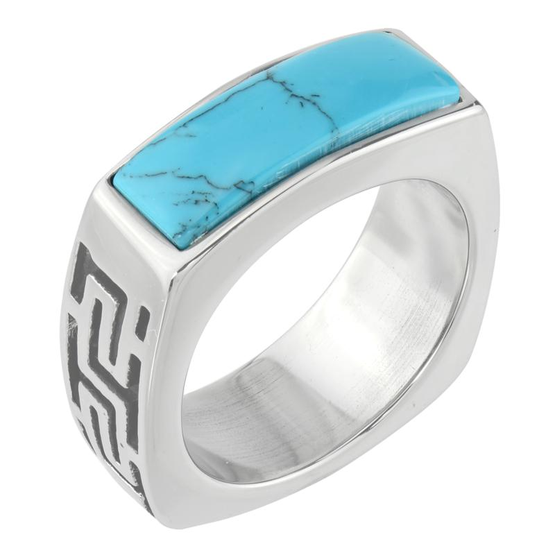 Stately Steel Blue Howlite Etched Band Ring