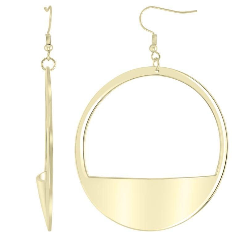 Stately Steel Circle Drop Earrings
