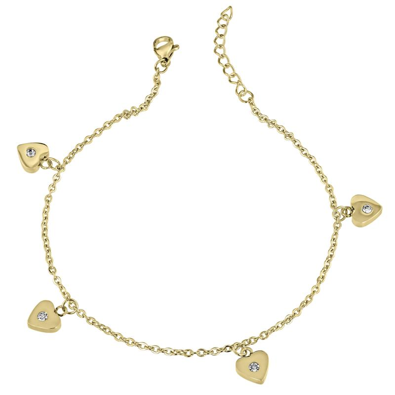 Stately Steel Crystal Heart Dangle Anklet