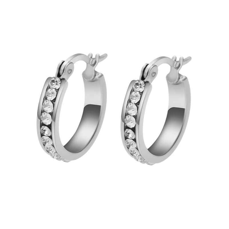 Stately Steel Cubic Zirconia Single-Row Small Hoop Earrings
