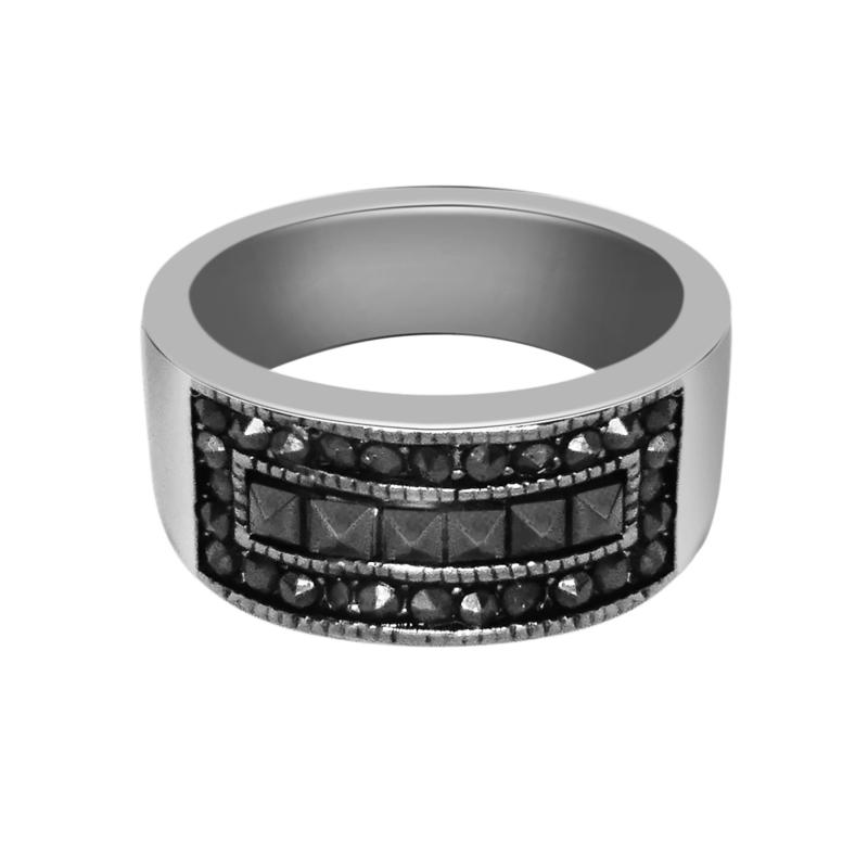Stately Steel Marcasite Round and Princess-Cut  Ring