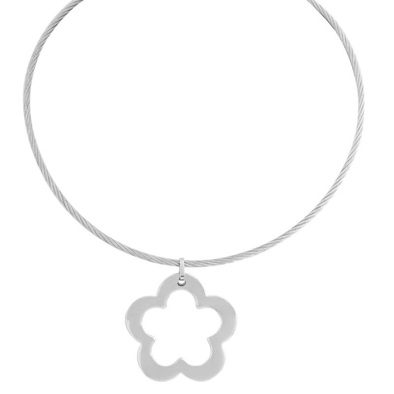 """Stately Steel Open Flower Pendant with 17"""" Wire Necklace"""