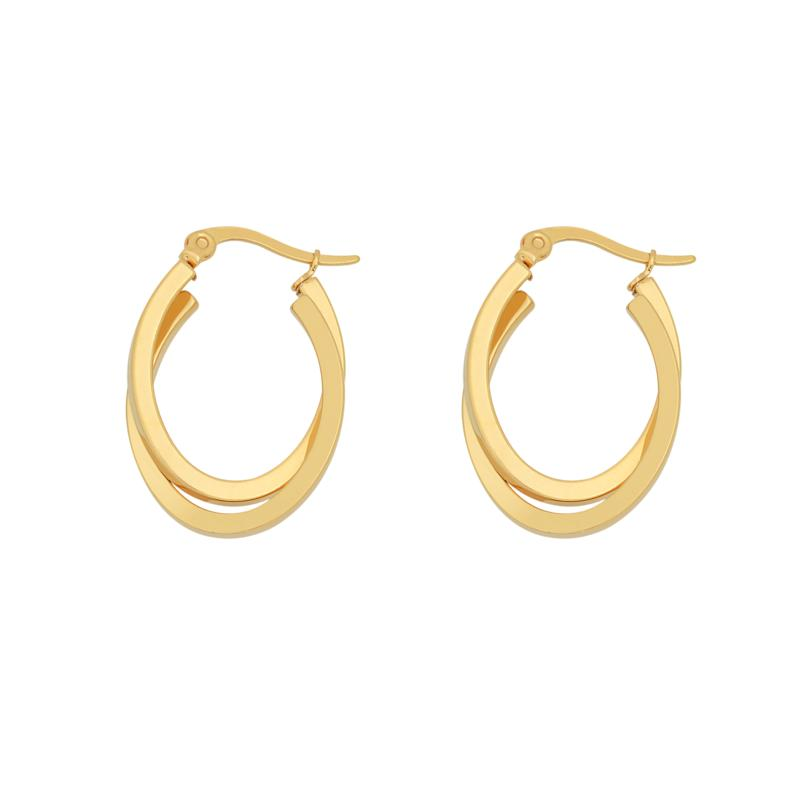 Stately Steel Overlapping Oval Hoop Earrings