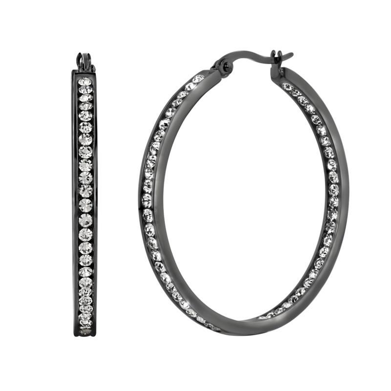 "Stately Steel Round Inside-Outside Pavé Hoop Earrings - 1-1/2"""