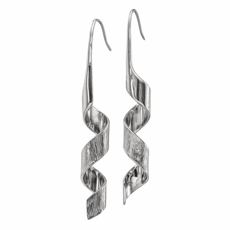Stately Steel Swirl-Design Dangle Earrings