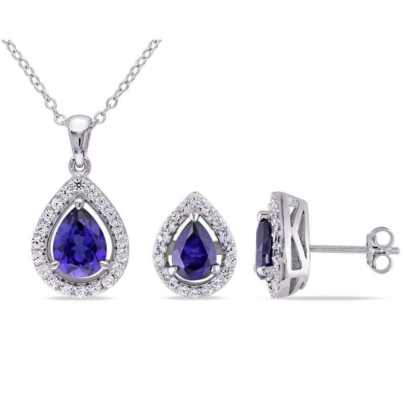 Sterling Silver Created Sapphire Teardrop Halo Pendant and Earrings