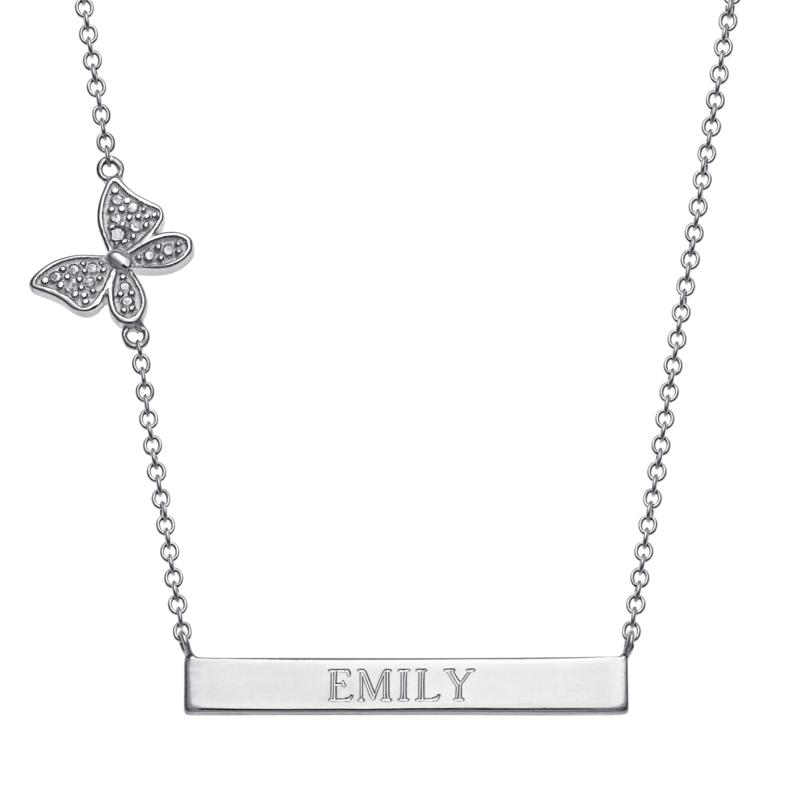 Sterling Silver Engravable Bar Necklace with Diamond Accent