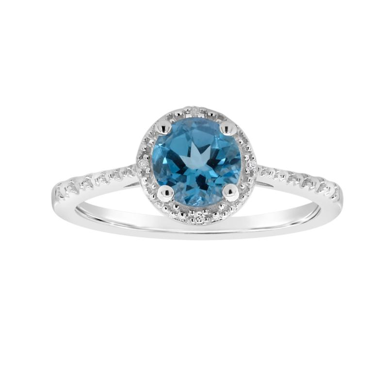 Sterling Silver Gemstone and Diamond 5mm Round Ring