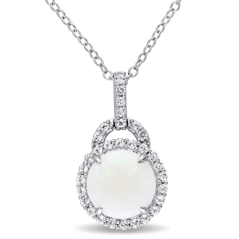 Sterling Silver Opal and White Topaz Halo Charm Pendant