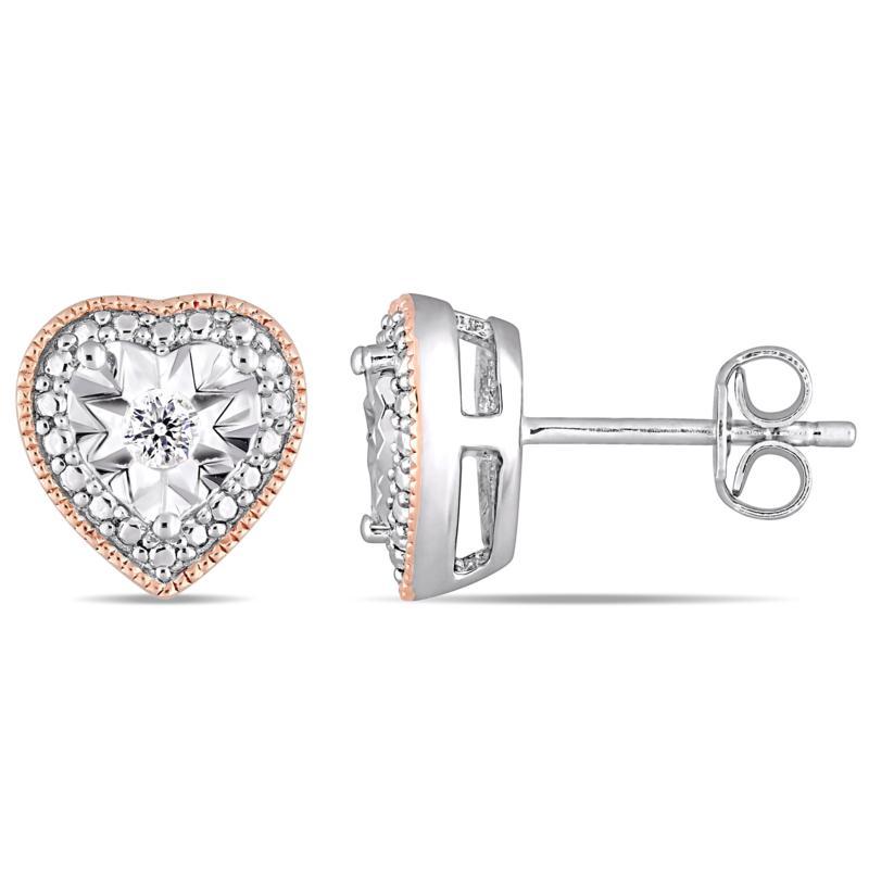 Sterling Silver Two-Tone .10ctw Diamond Filigree Heart Stud Earrings