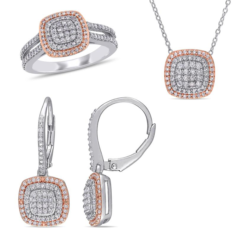 Sterling Silver Two-Tone 1.43ctw Diamond Halo Cluster Jewelry Set