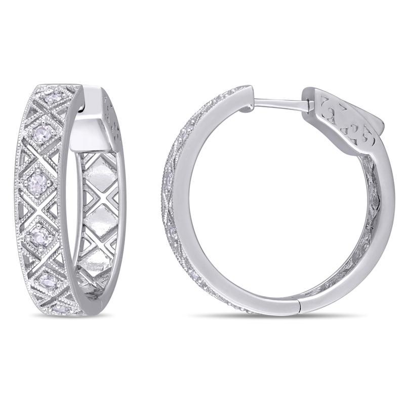 Sterling Silver White Sapphire Textured Hoop Earrings
