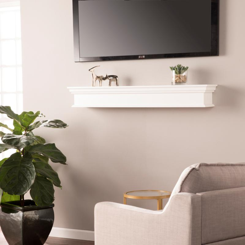 Telles Floating Mantel/Wall Shelf - Traditional Style - White