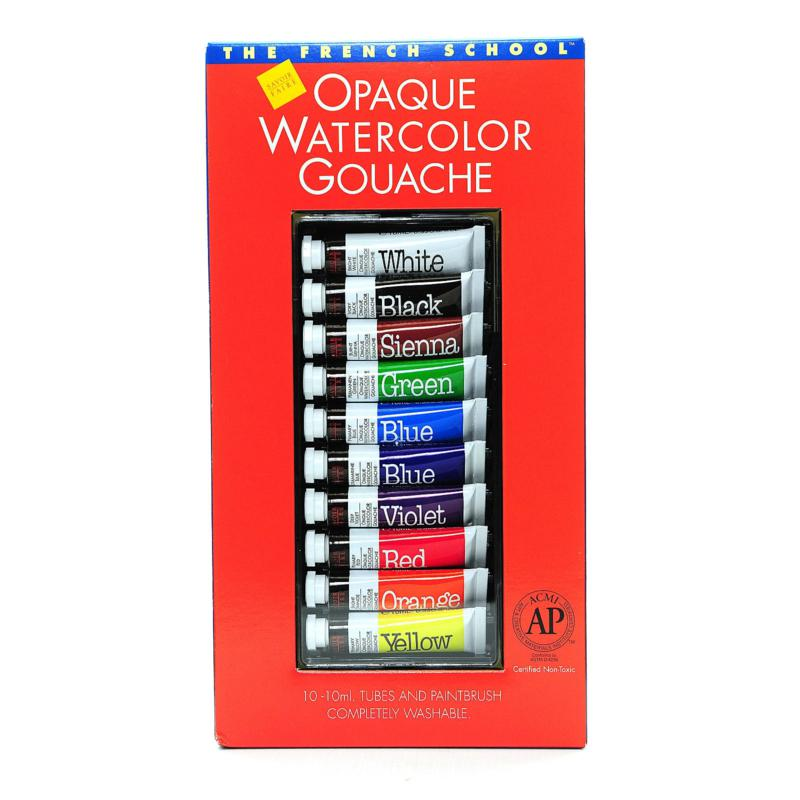 The French School Opaque Watercolor Gouache 10-Tube Set