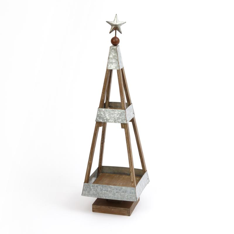 """The Gerson Company 31"""" Wood and Galvanized Metal Holiday Tree"""