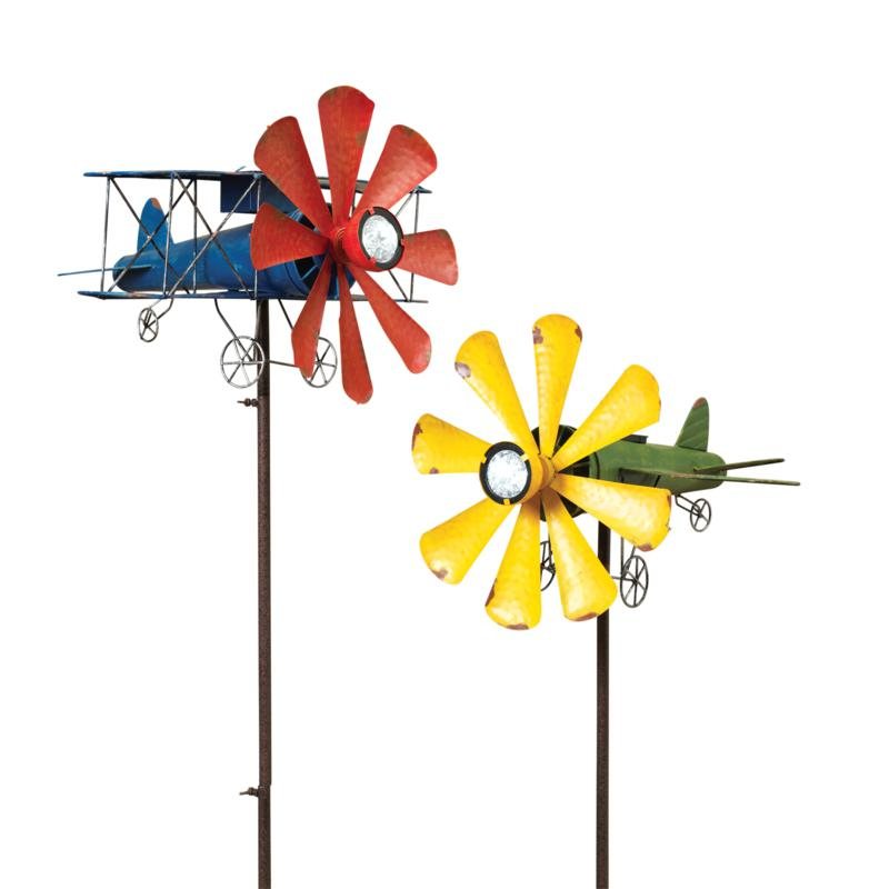 """The Gerson Company 63""""H Solar Lighted Airplane Wind Spinner 2-pack"""