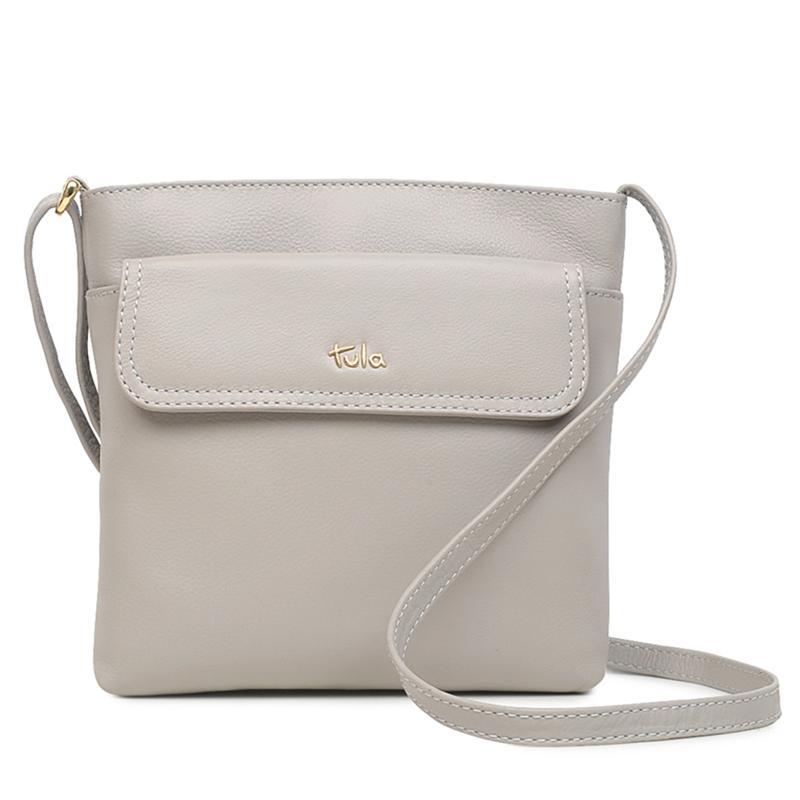 Tula England Medium Zip-Top Grainy Leather Crossbody Bag
