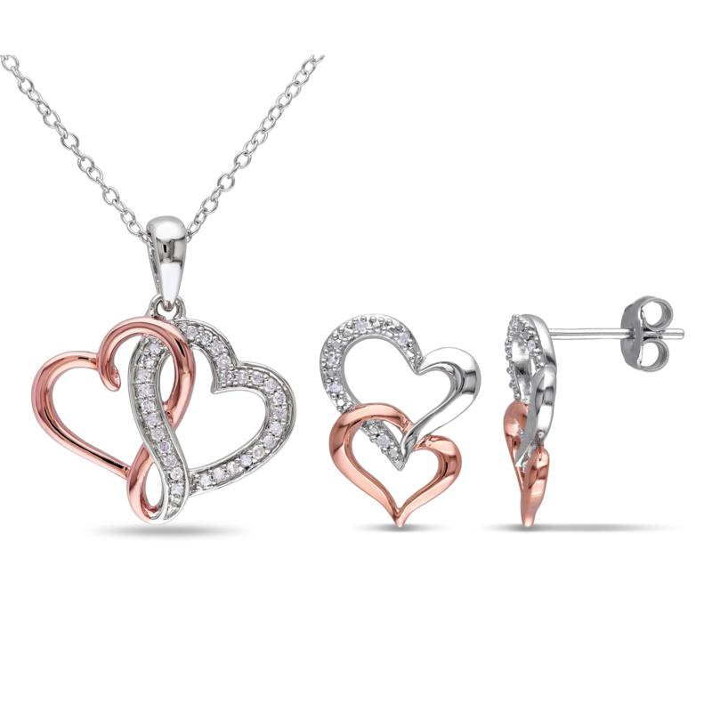 Two-Tone 0.19ctw Diamond Heart Earrings and Pendant with Chain