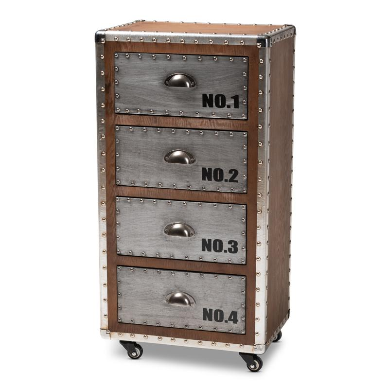 Wholesale Interiors Avere Wood & Metal 4-Drawer Rolling Accent Cabinet