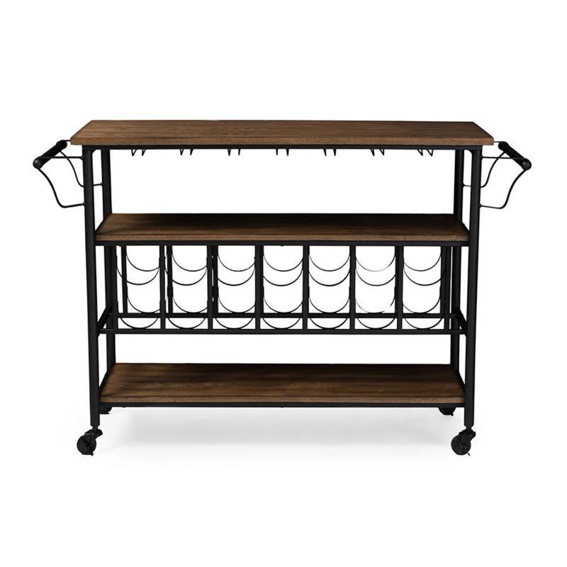 Wholesale Interiors Bradford Metal and Wood Mobile Wine Cart