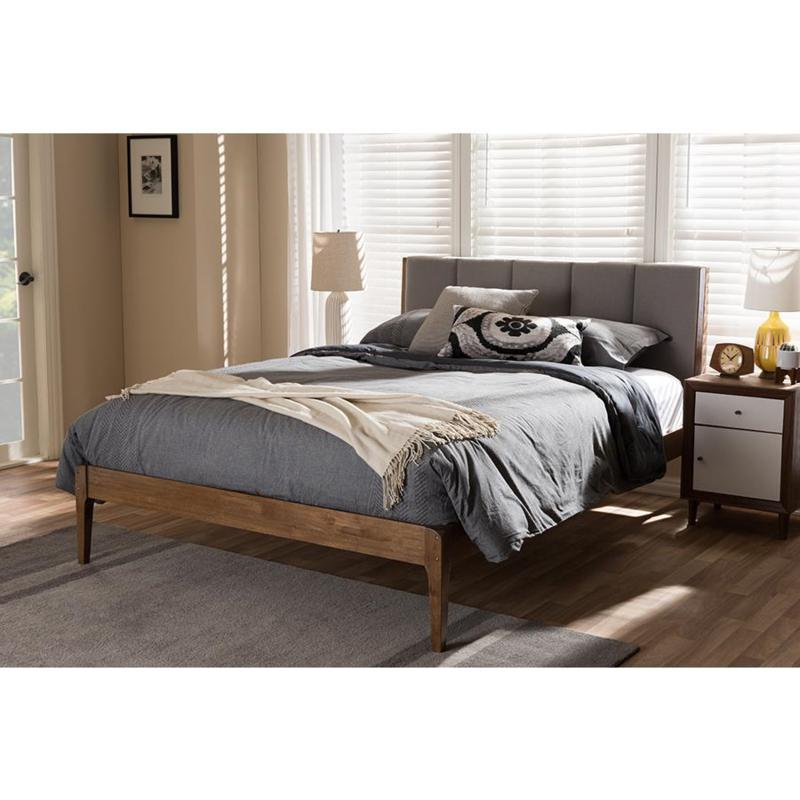 Wholesale Interiors Ember Fabric and Wood Queen-Size Platform Bed