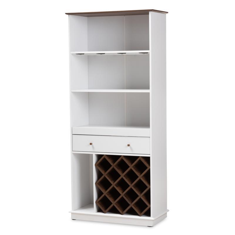 Wholesale Interiors Serafino 4-Shelf and 1-Drawer Wood Wine Cabinet