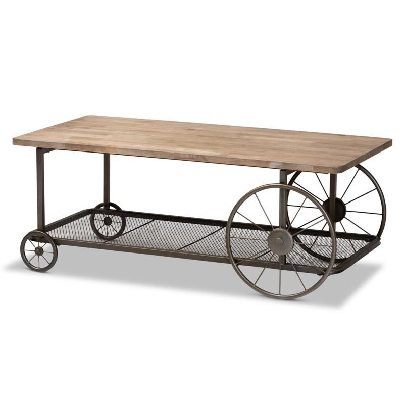 Wholesale Interiors Terence Wood and Metal Wheeled Coffee Table