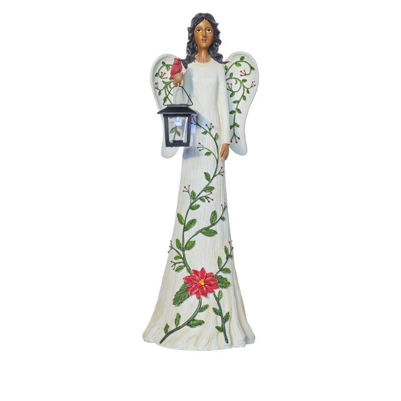 Wind and Weather Holiday Angel with Solar LED Lantern